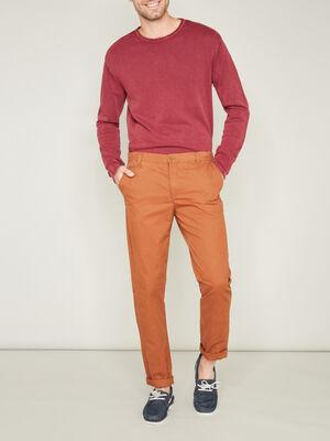 Pantalon en coton uni marron clair homme
