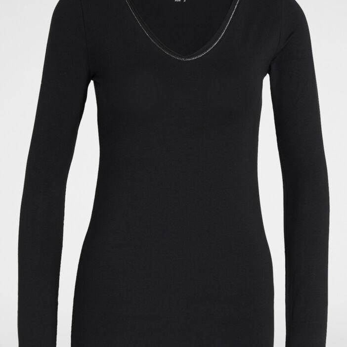 T-shirt uni liseré contrastant femme noir