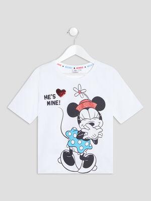 T shirt manches courtes Disney blanc fille