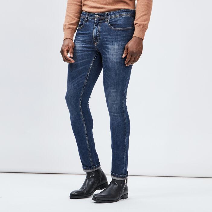 Jeans slim effet usé homme denim dirty