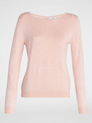 Pull a pois boutonne rose clair femme