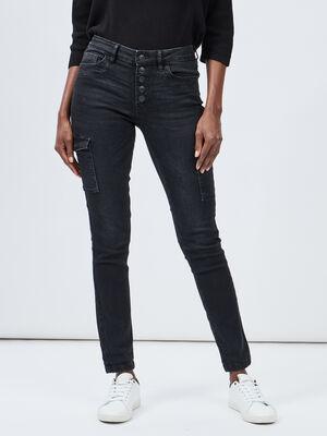 Jeans skinny boutonne denim snow noir femme