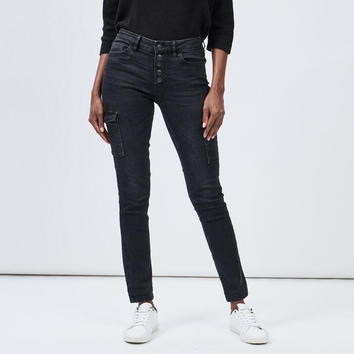 Jeans skinny boutonné femme denim snow noir