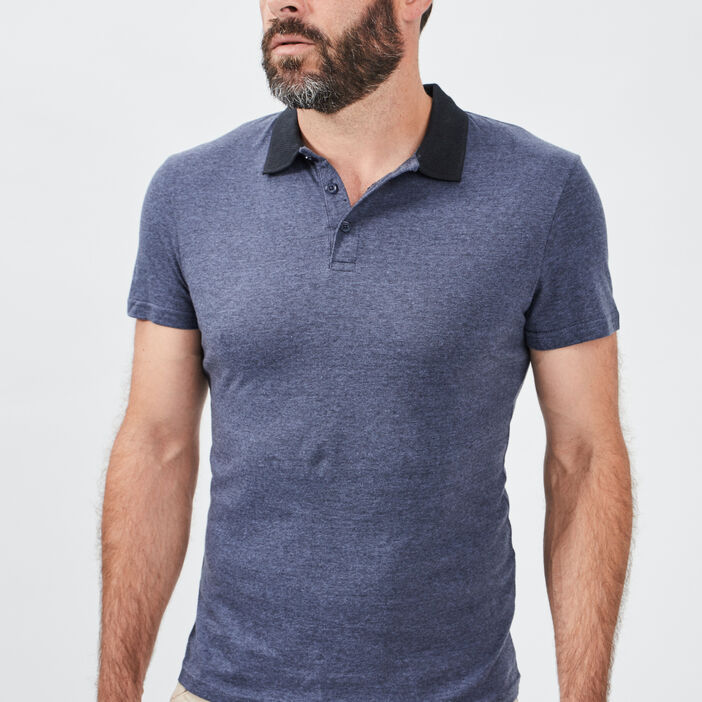 Polo manches courtes homme bleu marine