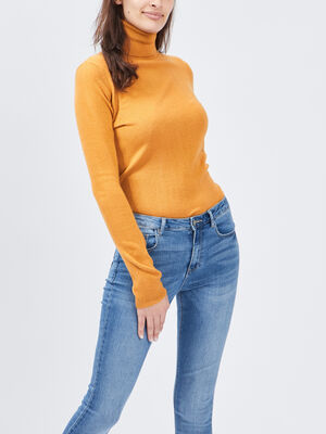 Pull col roule jaune moutarde femme