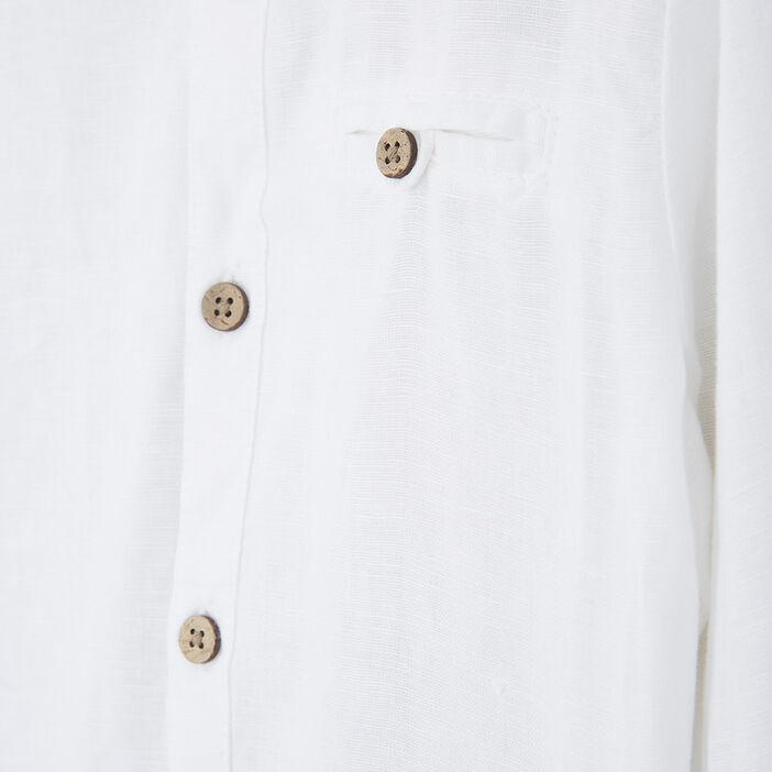 Chemise unie à manches longues garçon blanc