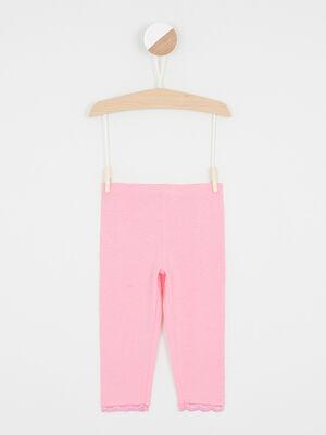 Legging uni bas en dentelle rose fluo fille