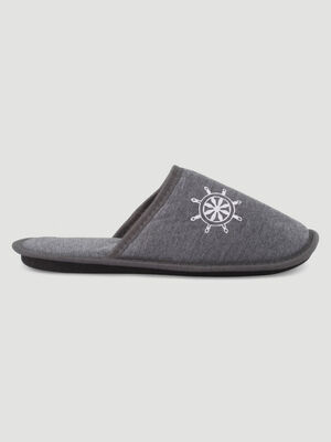 Chaussons chines type mules gris homme