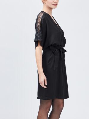 Robe droite fluide ceinturee noir femme
