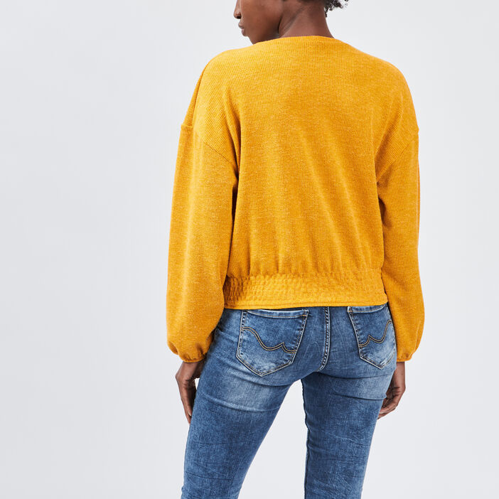 Sweat manches longues femme jaune moutarde