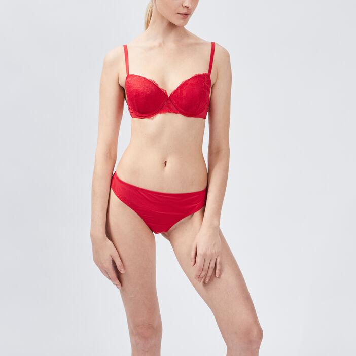 Soutien-gorge balconnet femme rouge