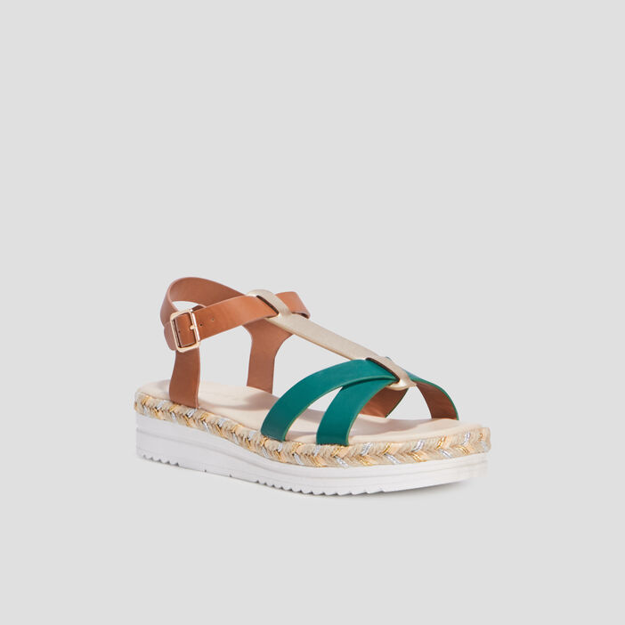 Sandales compensées femme vert