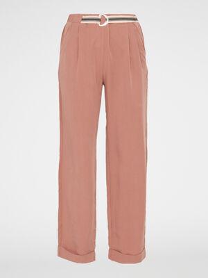 Pantalon droit ample rose femme