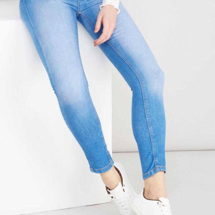Jean slim taille haute femme bleu