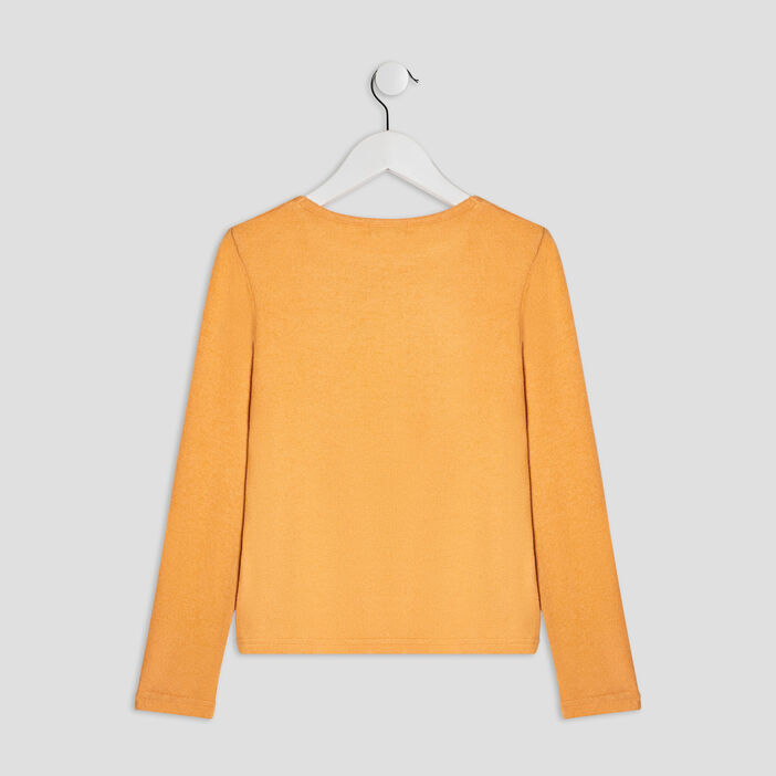 Pull avec col rond fille jaune moutarde