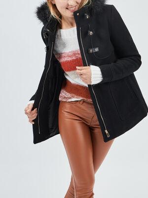 Manteau droit a capuche noir femme