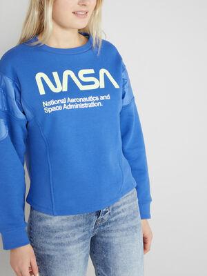 Sweatshirt Nasa avec imprime bleu femme