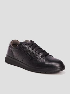 Sneakers en cuir noir homme
