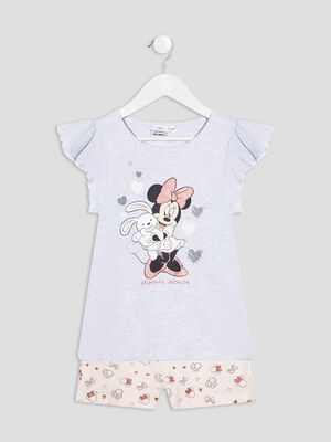 Ensemble pyjama Minnie gris clair fille