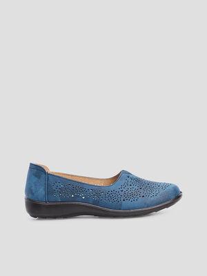 Mocassins perfores en cuir bleu femme