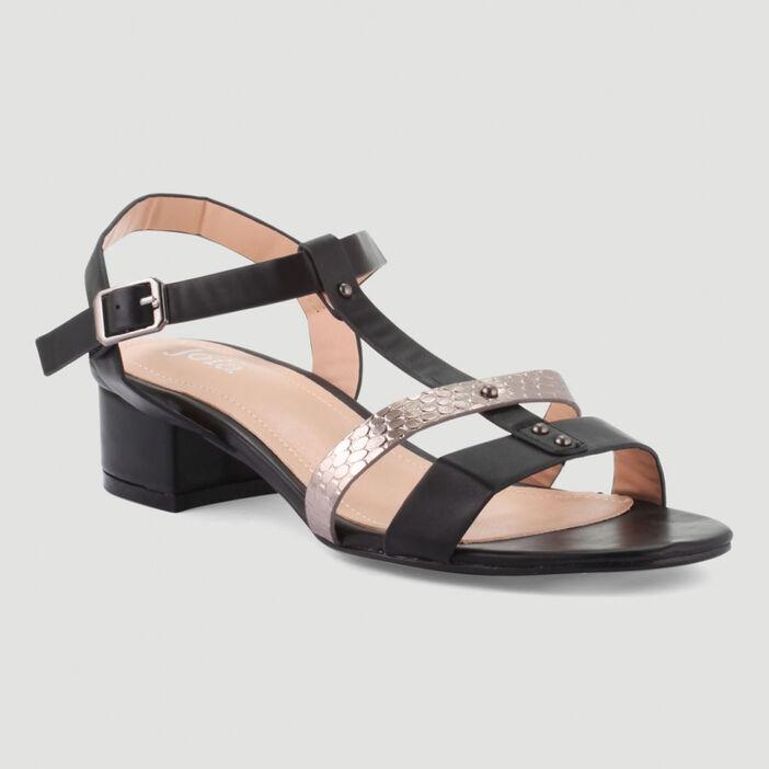 Sandales à brides et rivets femme noir
