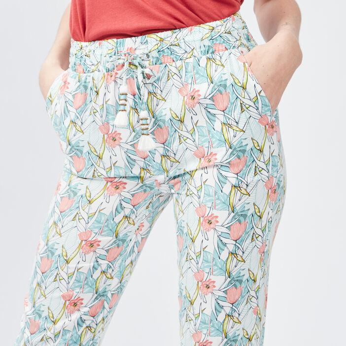 Pantalon ample à pampilles femme ecru