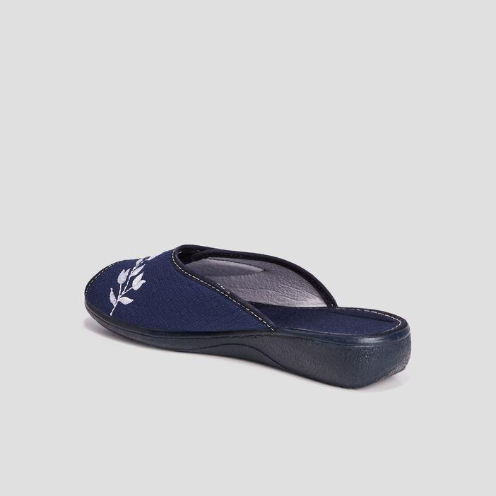 Chaussons mules brodés femme bleu marine