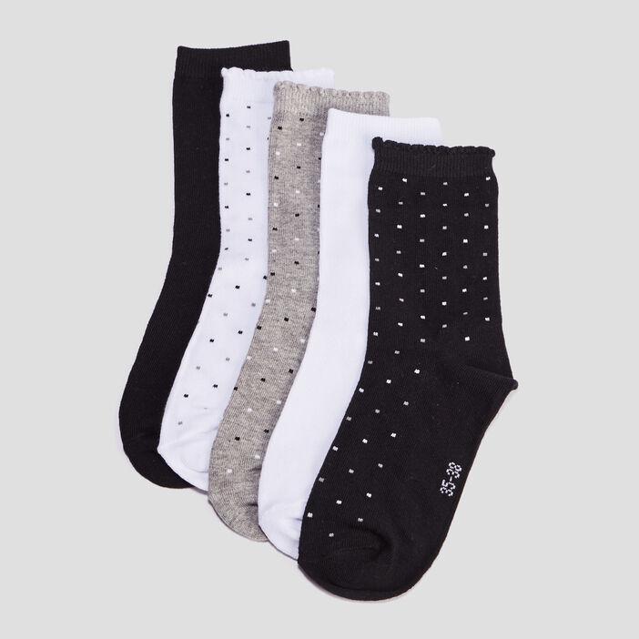 Lot 5 paires chaussettes femme multicolore