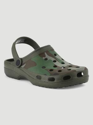 Sabots fermees imprime camouflage vert kaki homme