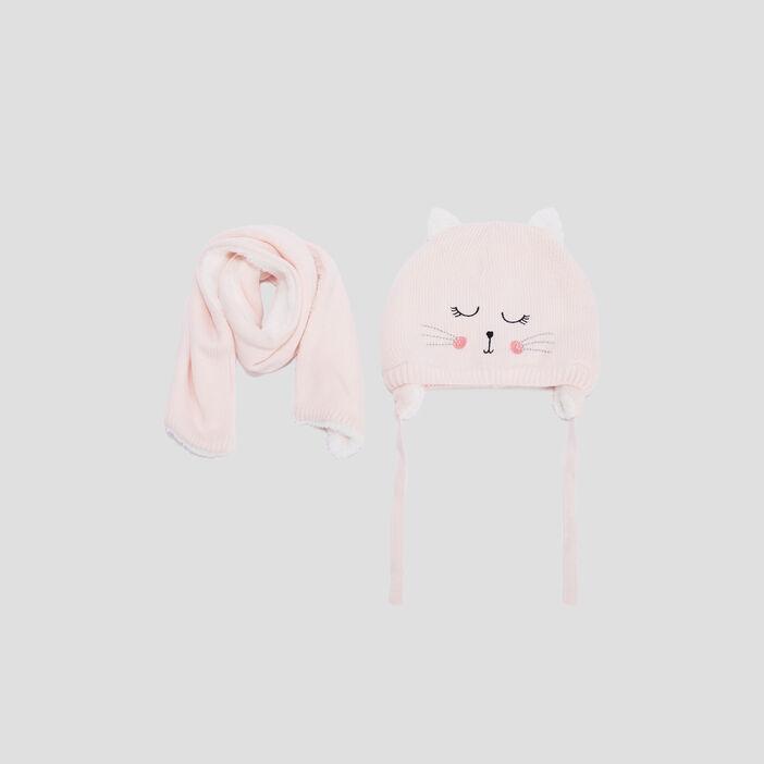 Lot bonnet et écharpe bébé fille rose
