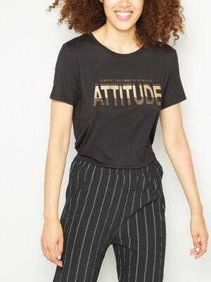 T shirt col rond avec imprime camel femme