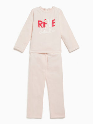 Pyjama 2 pieces avec message imprime gris fille