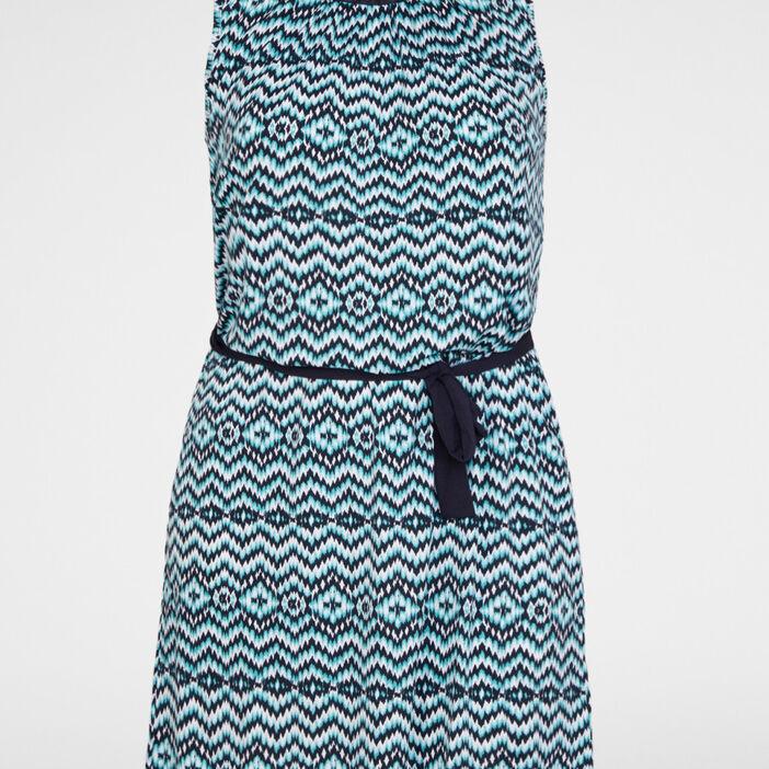 Robe droite imprimée avec ceinture femme grande taille bleu turquoise