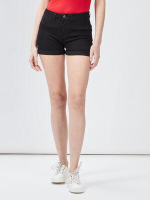 Short slim en jean noir femme