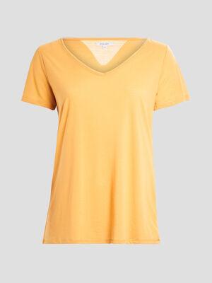 T shirt manches courtes jaune moutarde femmegt