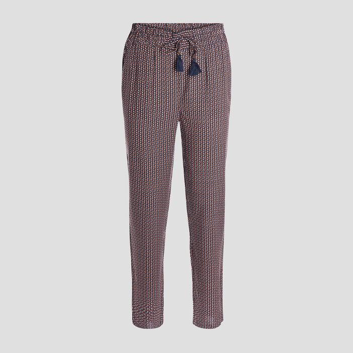 Pantalon droit fluide femme bleu marine
