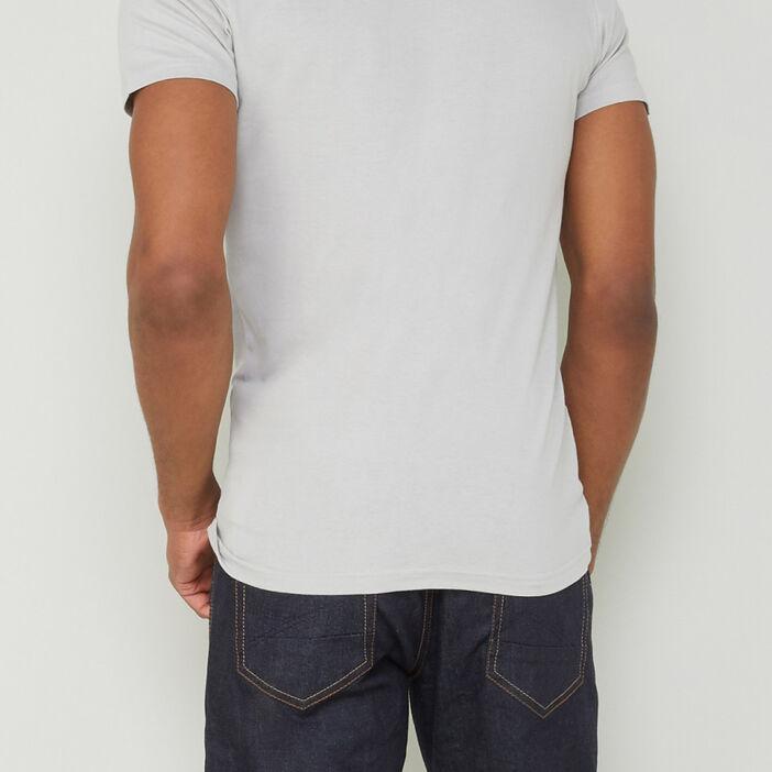 T-shirt col V uni homme gris clair