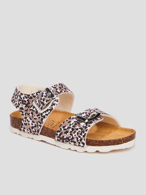 Sandales a paillettes marron fille
