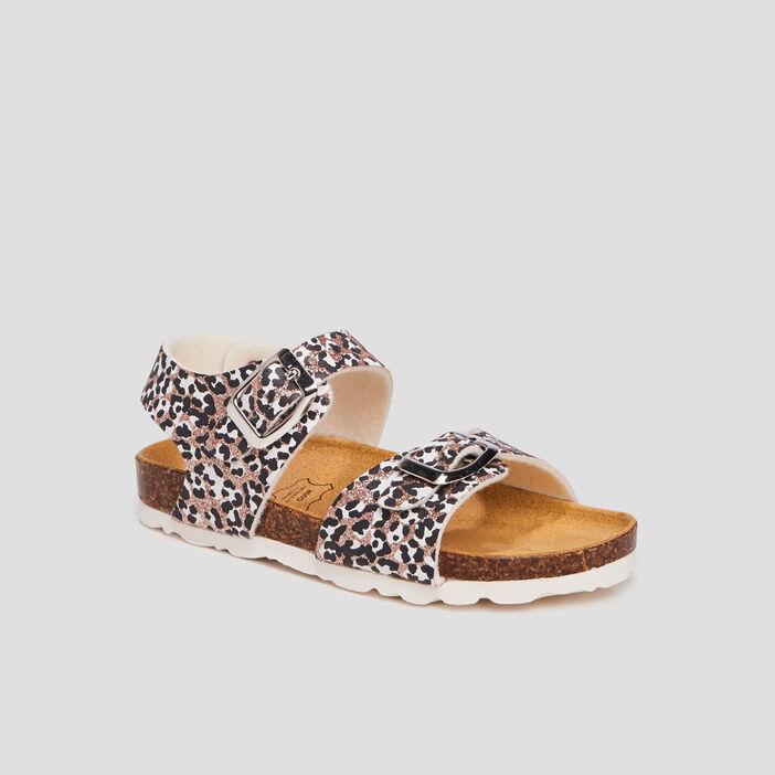 Sandales à paillettes fille marron