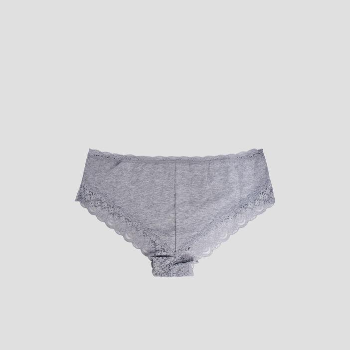 Culotte boxer avec dentelle femme gris