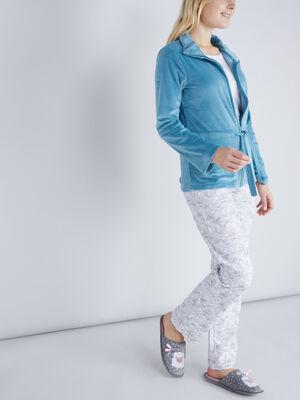Pyjama 3 pieces en velours bleu femme