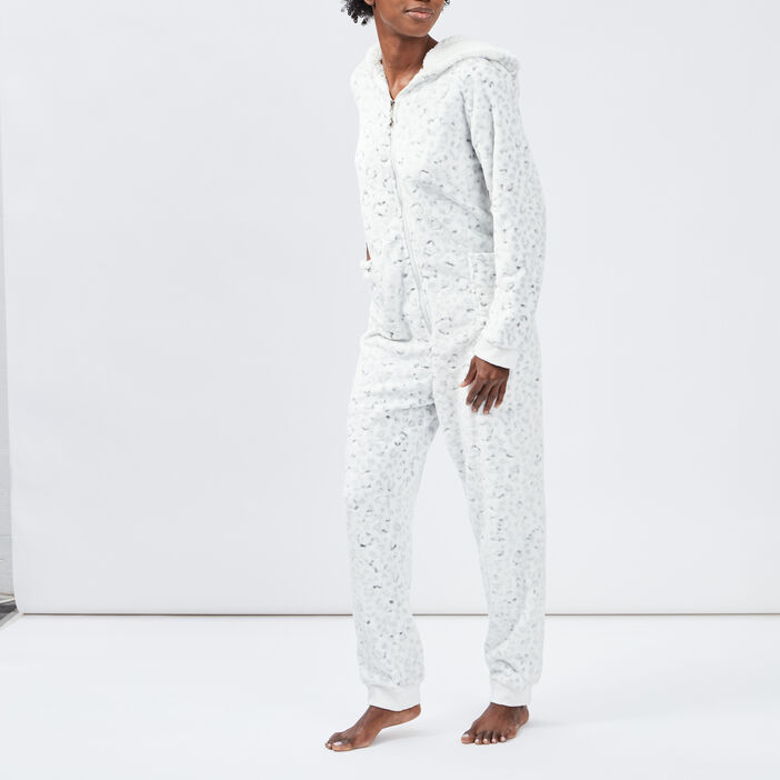 Combinaison de pyjama à capuche femme ecru