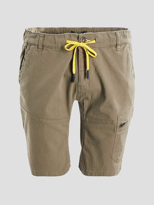 Bermuda droit a poche zippee vert kaki homme