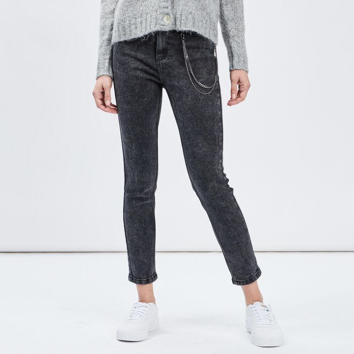 Jeans slim 7/8ème avec chaînes femme noir