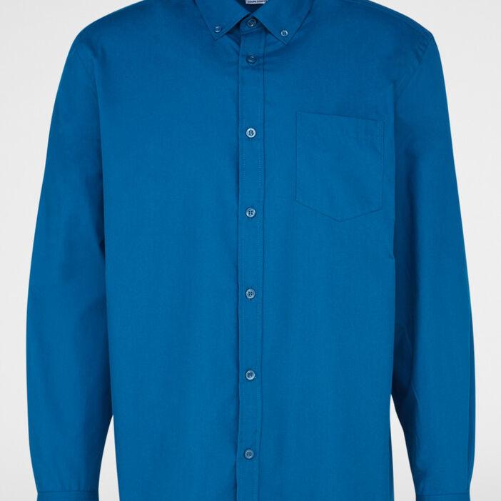 Chemise droite unie manches longues homme bleu canard
