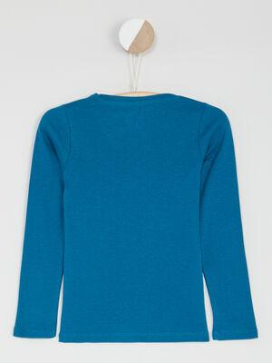 T shirt uni en coton bleu canard fille