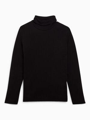 T shirt uni manches longues noir garcon