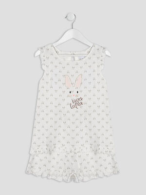 Ensemble pyjama avec short blanc fille