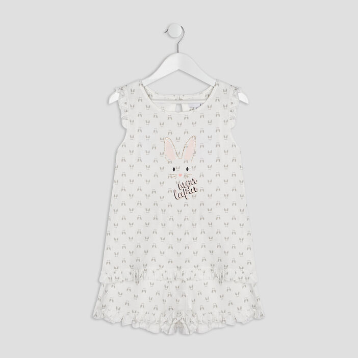 Ensemble pyjama avec short fille blanc