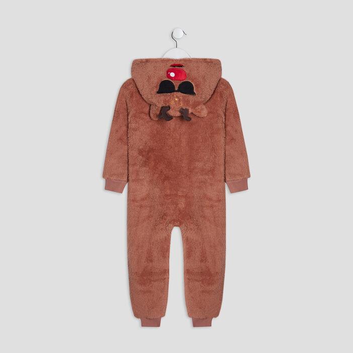 Combinaison pyjama à capuche garçon marron